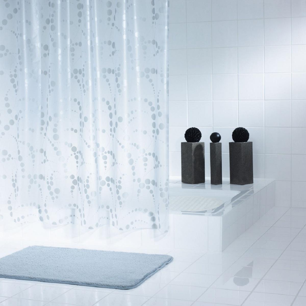Штора для ванной комнаты Ridder Dots, цвет: серый, 180 х 200 см32377Штора для ванной комнаты Ridder Dots, изготовленная из высококачественного полиэтиленвинилацетата, приятна на ощупь, устойчива к разрывам и проколам, не пропускает воду. Изделие декорировано ярким рисунком с изображением кругов. Штора надежно защитит от брызг и капель пространство вашей ванной комнаты в то время, пока вы принимаете душ, а привлекательный дизайн шторы наполнит вашу ванную комнату положительной энергией.