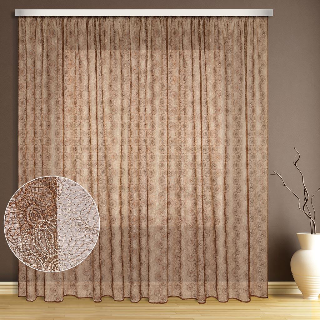 Тюль ТД Текстиль Цветок, цвет: бежевый, высота 270 см89535Эта тюль выполнена на сетке с полным заполнением вышивкой, может использоваться в интерьере без дополнительных штор