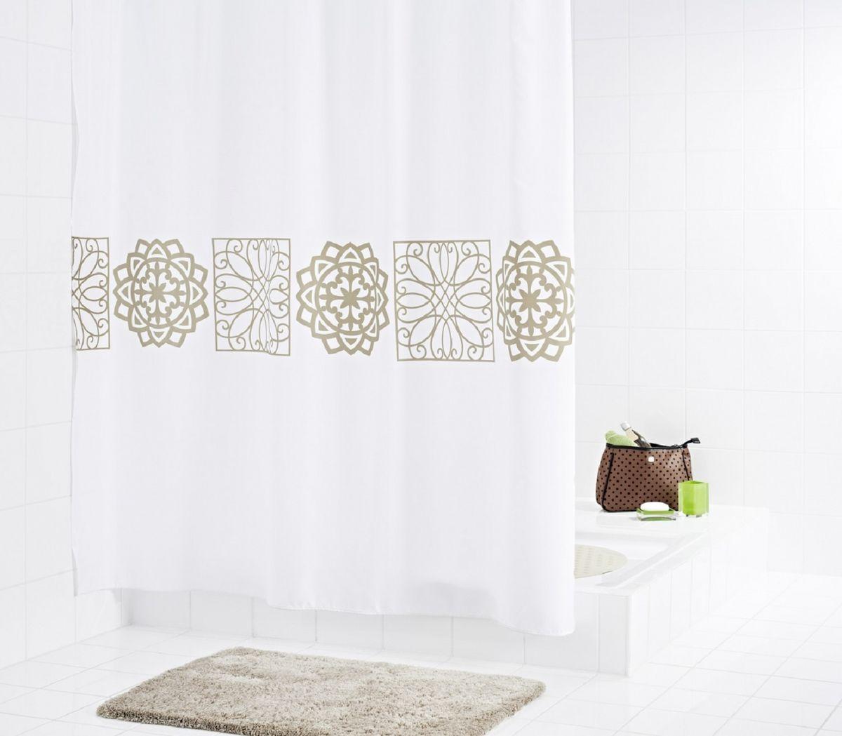 Штора для ванной комнаты Ridder Tunis, цвет: бежевый, коричневый, 180 х 200 см46359Штора для ванной комнаты Ridder Tunis, изготовленная из текстиля с антигрибковым и антистатическим покрытием, отлично дополнит любой интерьер ванной комнаты. Нижний кант утяжелен каучуковой лентой. Машинная стирка. Глажка при низкой температуре.