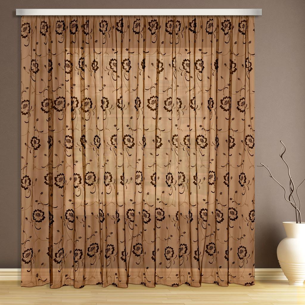 Тюль ТД Текстиль, цвет: коричневый, высота 26089540Тюль флок выполнена в коричневом цвете.