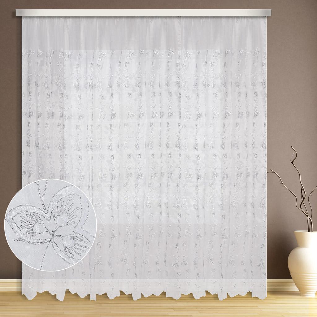 Тюль ТД Текстиль Клевер, цвет: белый, высота 270 см89544Тюль микровуаль с вышивкой люрексом оживит вашу комнату и придаст помещению яркости.