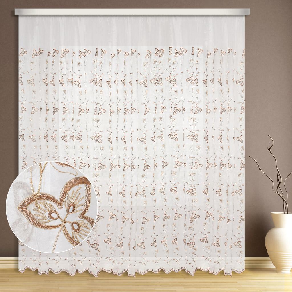 Тюль ТД Текстиль Клевер, цвет: бежевый, высота 270 см89545Тюль микровуаль с вышивкой люрексом оживит вашу комнату и придаст помещению яркости.