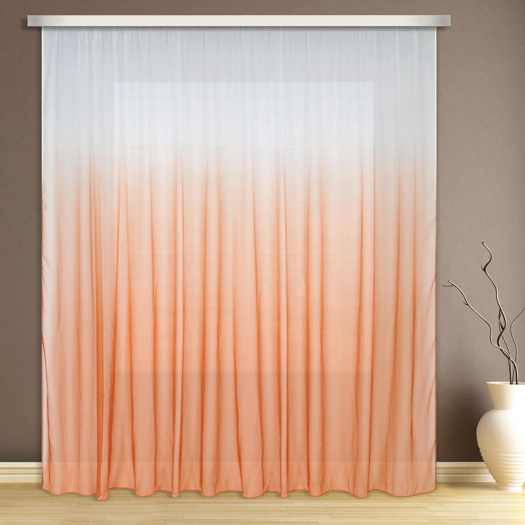 Тюль ТД Текстиль Карнавал, на шторной ленте, высота 260 см89547Тюль вуаль c переходящим оттенком от светлого к темному оранжевого цвета.
