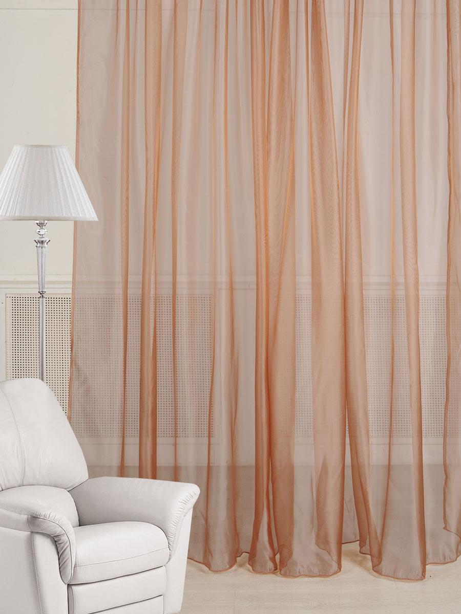 Тюль ТД Текстиль, цвет: шоколадный, высота 260 см89548Тюль из микровуали с легким эффектом блеска шоколадного цвета