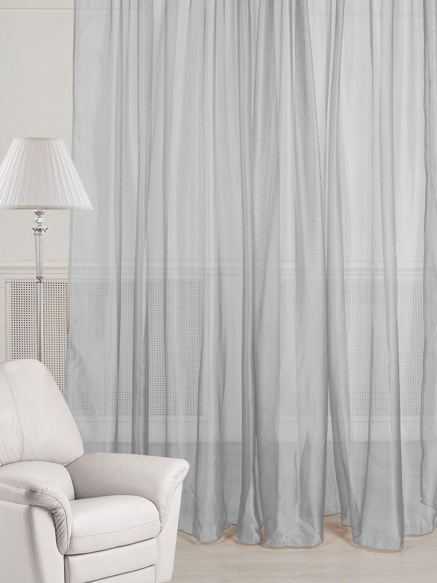 Тюль ТД Текстиль, цвет: серебряный, высота 260 см89549Тюль из микровуали с легким эффектом блеска стального цвета