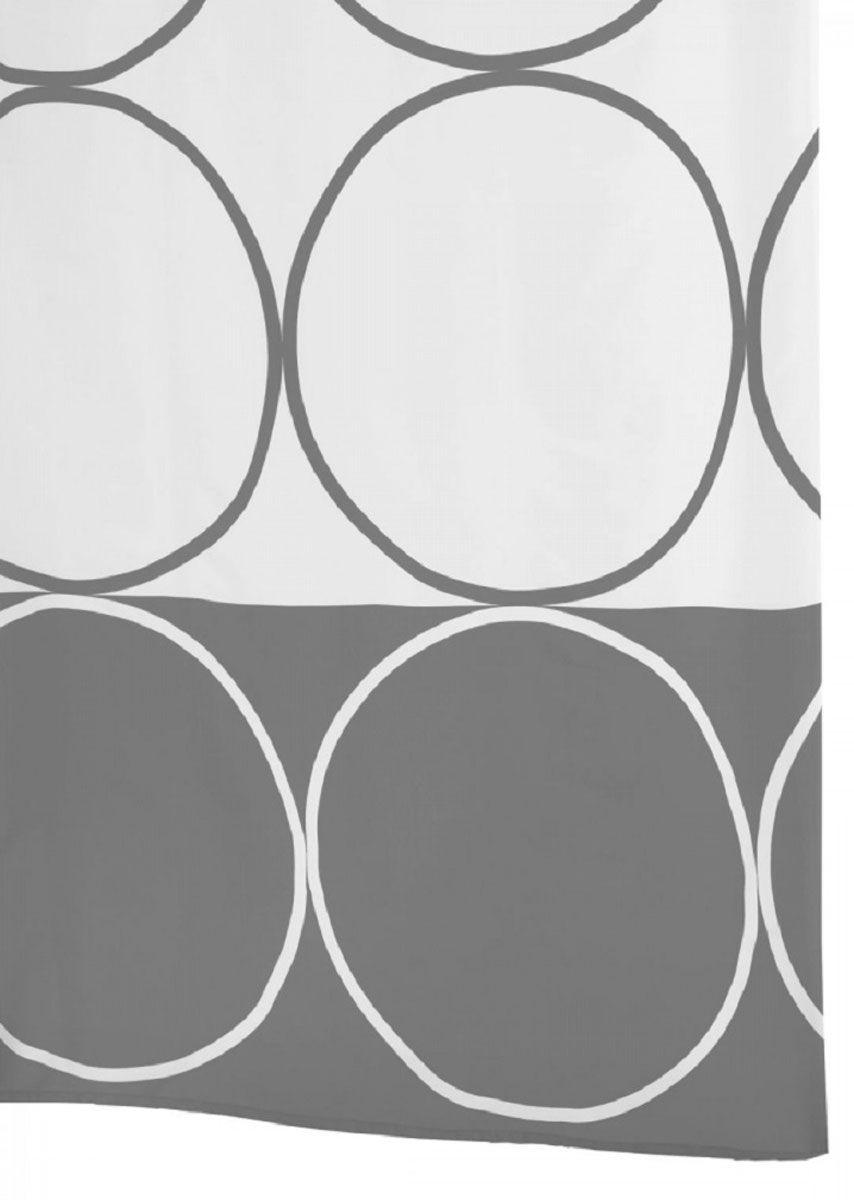 Штора для ванной комнаты Ridder Circle, цвет: серый, серебряный, 180 х 200 см46387Штора для ванной комнаты Ridder Circle, изготовленная из полиэстера с антигрибковым и антистатическим покрытием, отлично дополнит любой интерьер ванной комнаты. Нижний кант утяжелен каучуковой лентой.