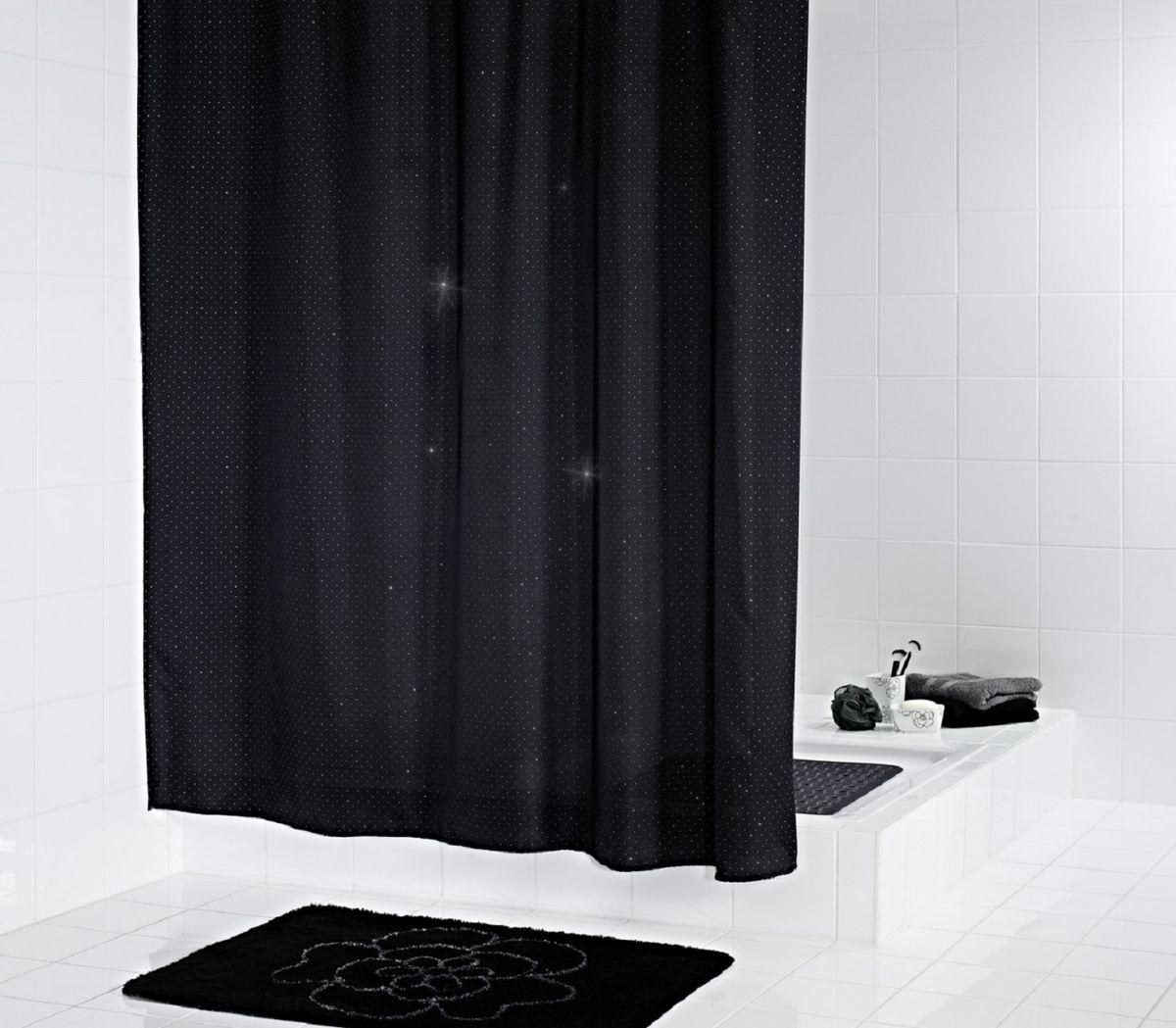 Штора для ванной комнаты Ridder Diamond , цвет: черный , 180 х 200 см48300Нижний кант утяжелен каучуковой лентой.На текстильную штору наносится антигрибковое, антистатическое покрытие. Стирка/глажка при низкой температуре.
