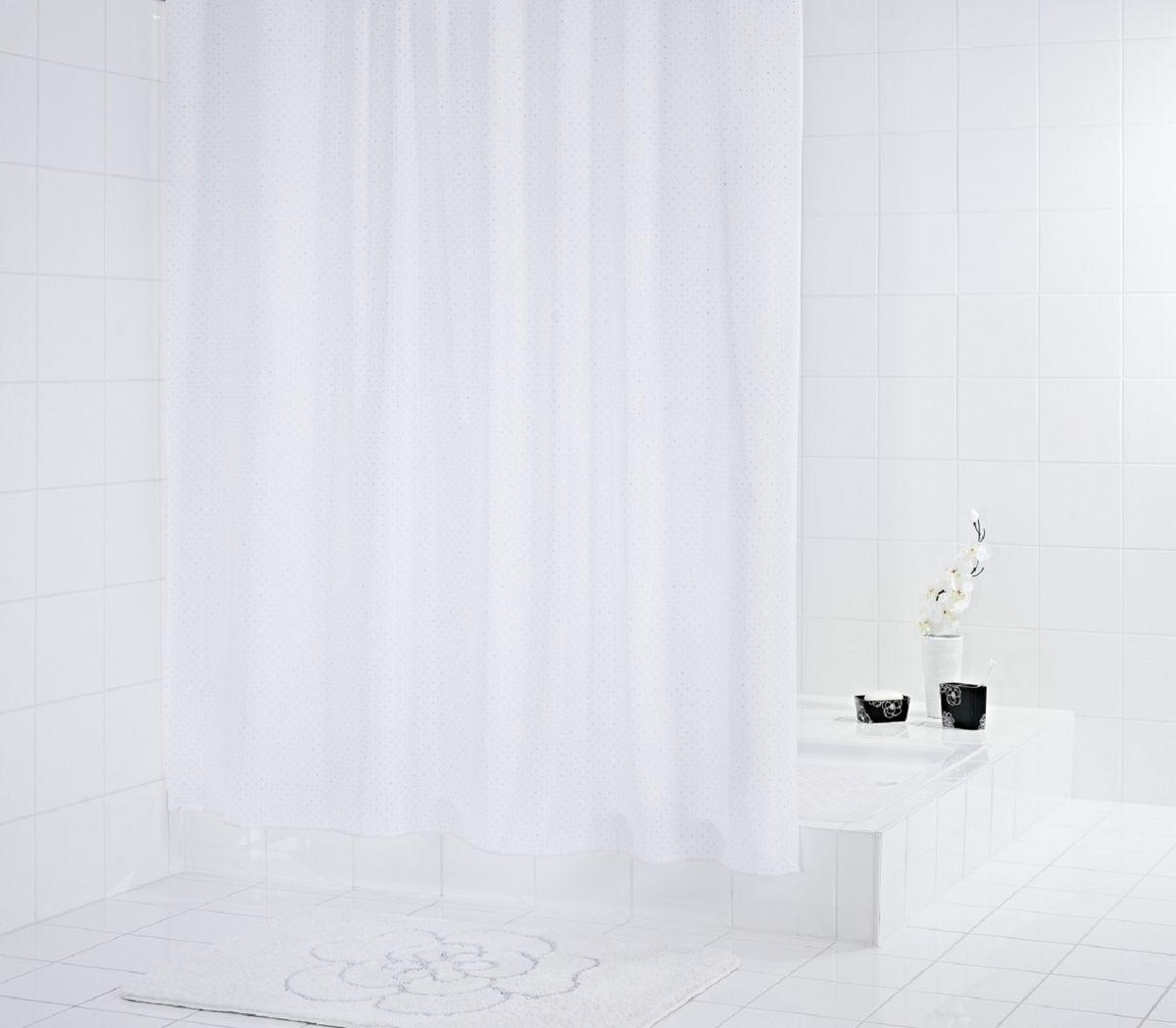 Штора для ванной комнаты Ridder Diamond, цвет: белый , 180 х 200 см48301Штора для ванной комнаты Ridder Diamond, изготовленная из полиэстера с антигрибковым и антистатическим покрытием, отлично дополнит любой интерьер ванной комнаты. Нижний кант утяжелен каучуковой лентой.