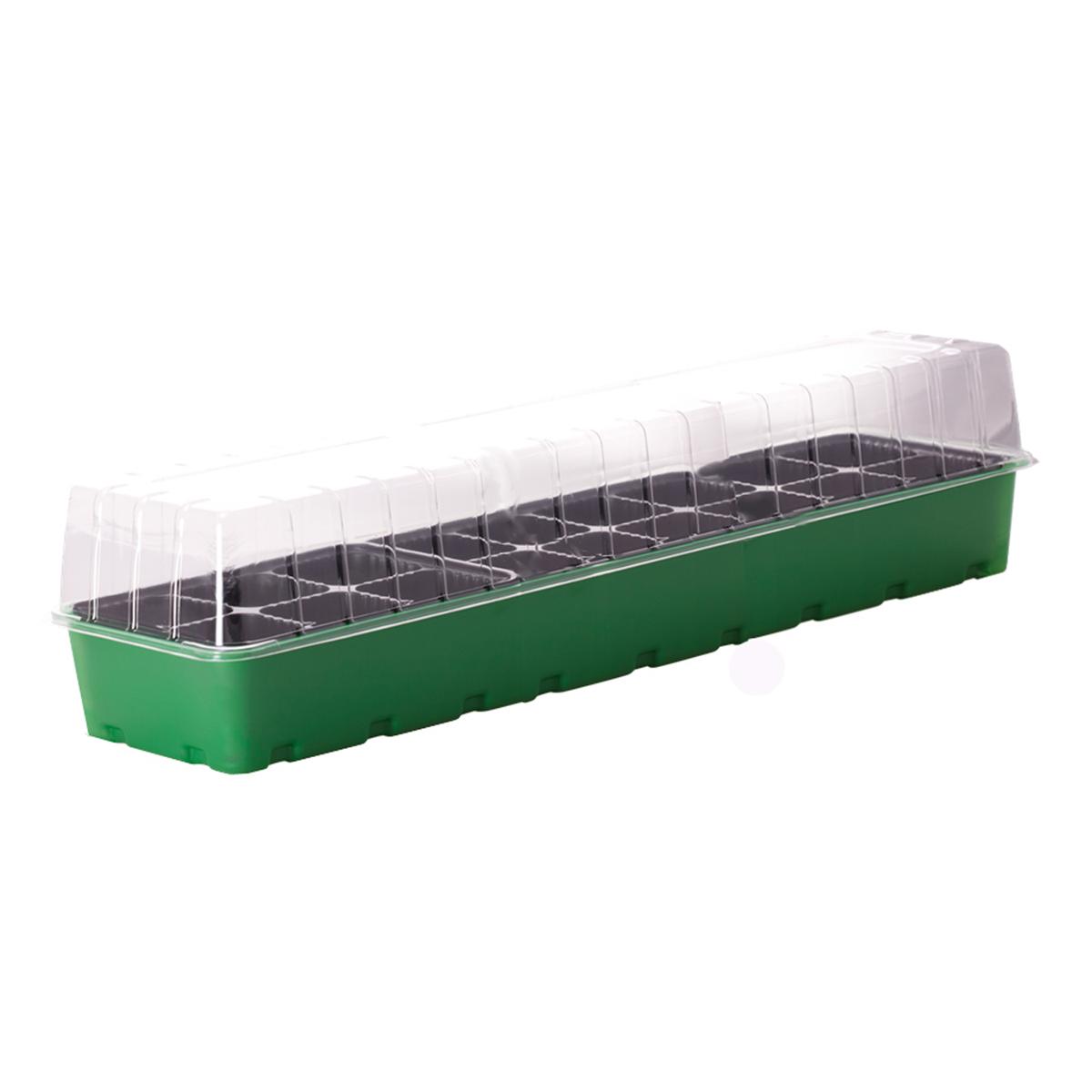 Минипарник для рассады Ingreen, 18 ячеек, 60 х 16 х 13 смING60011FInGreen - компактный и удобный в использовании минипарник. Идеально подходит для выращивания рассады в домашних условиях. В комплекте: форма с ячейками под рассаду, поддон для стока лишней воды при поливе и крышка для создания благоприятного микроклимата для быстрой всхожести и роста рассады. Размер изделия: 60 х 16 х 13 см.