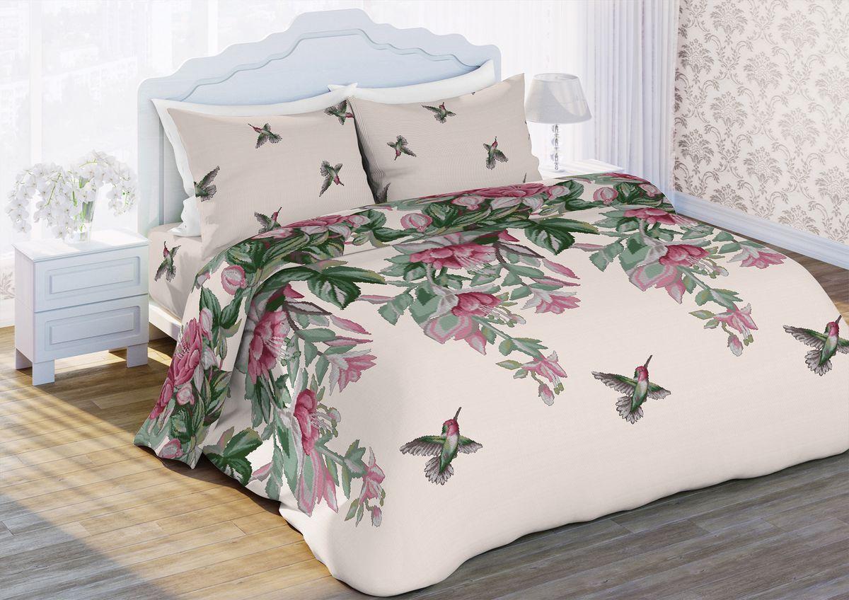 Комплект белья Любимый дом Колибри, 1,5-спальный, наволочки 70x70386099Комплект постельного белья коллекции Любимый дом выполнен из высококачественной ткани - из 100% хлопка. Такое белье абсолютно натуральное, гипоаллергенное, соответствует строжайшим экологическим нормам безопасности, комфортное, дышащее, не нарушает естественные процессы терморегуляции, прочное, не линяет, не деформируется и не теряет своих красок даже после многочисленных стирок, а также отличается хорошей износостойкостью.