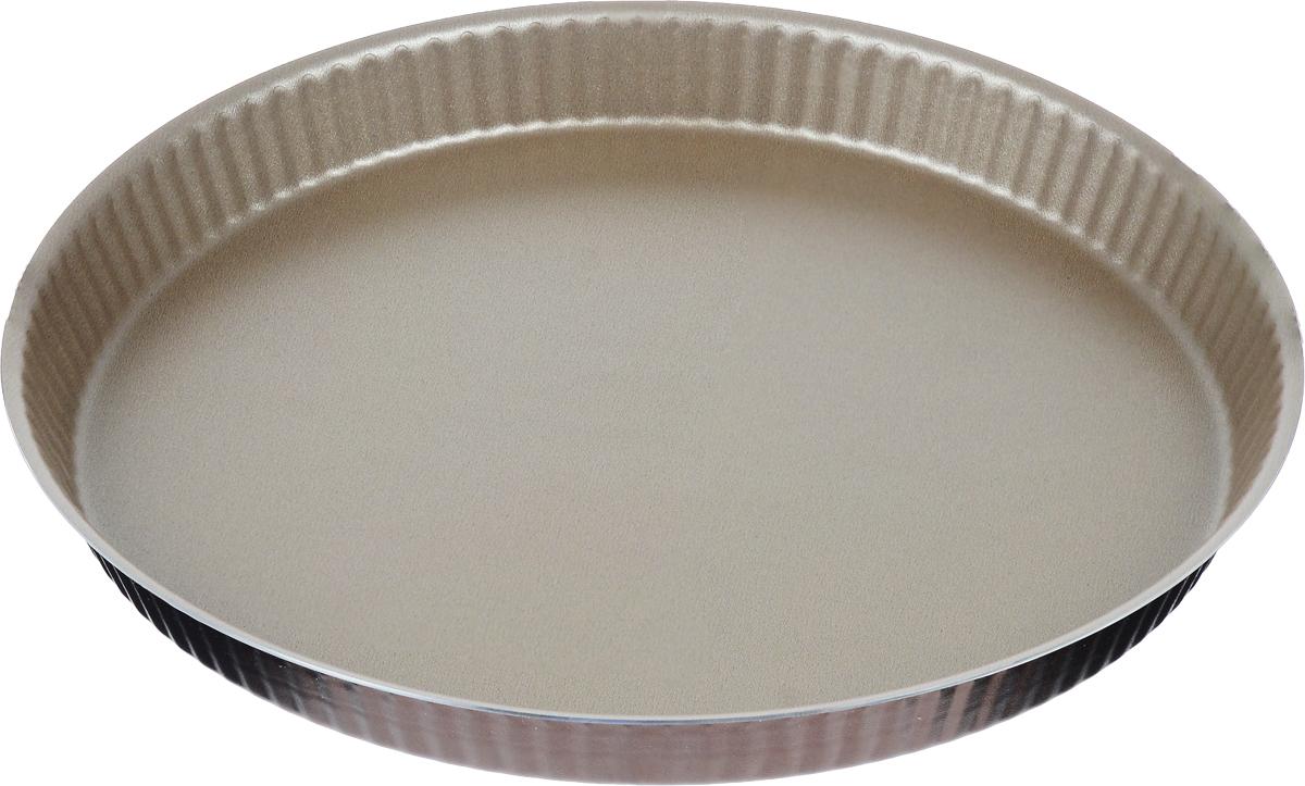 Форма для торта TVS Dolci Idee рифленая, с низким бортом, с антипригарным покрытием, цвет: золотистый, шоколадный, диаметр 30 см82077301030601Круглая рифленая форма для торта TVS Dolci Idee изготовлена из высококачественного алюминия с внутренним антипригарным покрытием Ipertek. Оригинальная по дизайну форма имеет внутренне покрытие золотистого цвета, а внешнее шоколадного. Стенки формы низкие и рифленые, что позволит без труда вынуть готовый корж. На дне формы имеется шелкотрафаретное нанесение рецепта вкусного торта. Форма предназначена для использования в духовом шкафу. Можно мыть в посудомоечной машине. Простая в уходе и долговечная в использовании форма для торта TVS Dolci Idee будет верной помощницей в создании ваших кулинарных шедевров. Диаметр формы: 30 см. Высота стенки: 3 см.