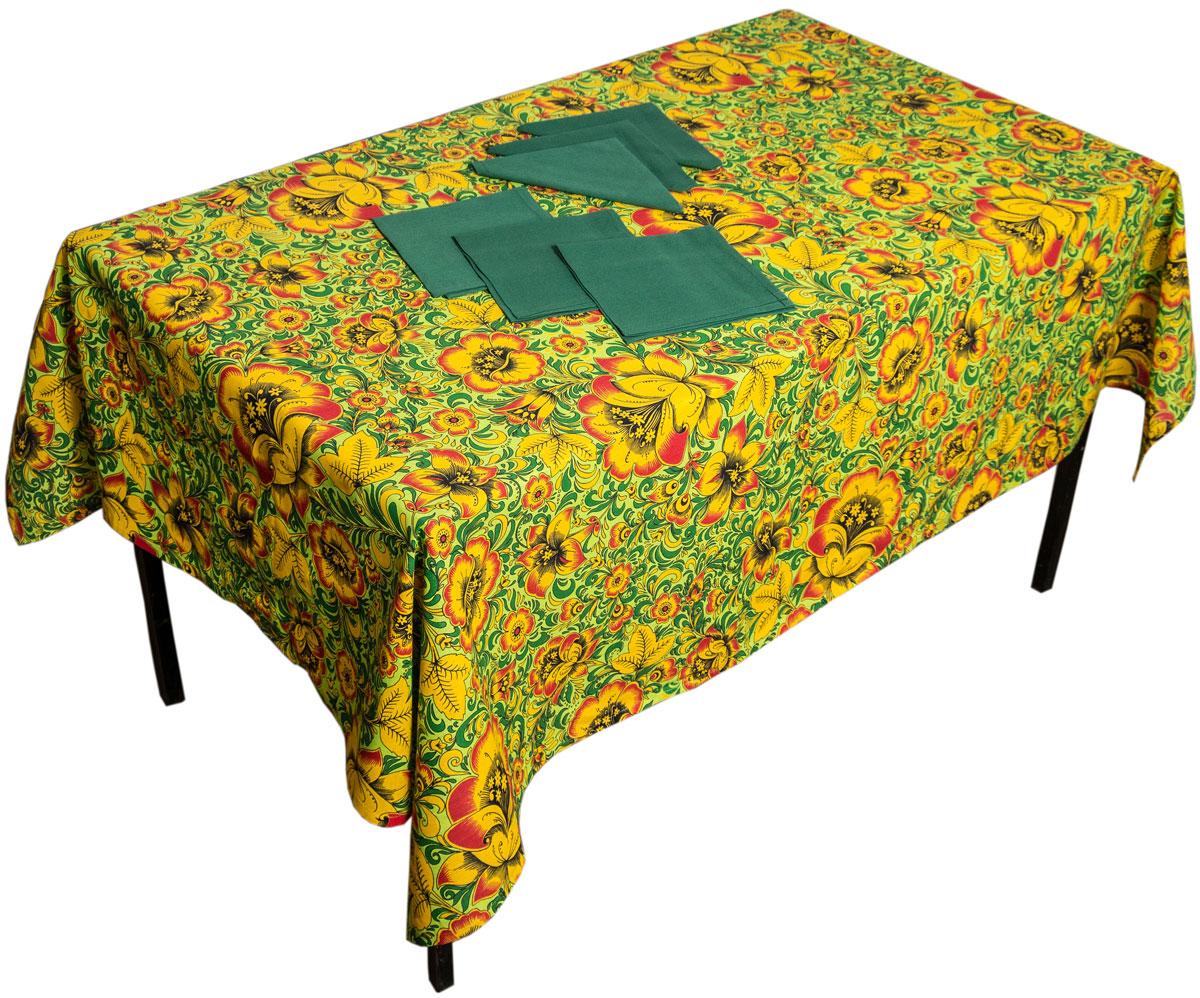 Комплект столовый Zlata Korunka Хохлома, 7 предметов. 5566755667Комплект столового белья Zlata Korunka Хохлома состоит из прямоугольной скатерти и шести салфеток. Комплект выполнен из высококачественного хлопка и украшен ярким рисунком. Он, несомненно, придаст интерьеру уют и внесет что-то новое. Использование такого комплекта сделает застолье более торжественным, поднимет настроение гостей и приятно удивит их вашим изысканным вкусом. Размер скатерти: 140 х 180 см. Размер салфетки: 40 х 40 см.