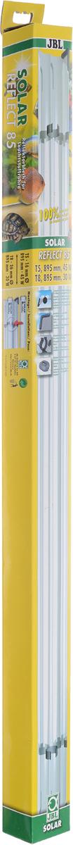 Отражатель JBL Solar Reflect 85, для люминесцентных ламп Т8 30 Вт/Т5 45 Вт, длина 85 cмJBL6173300Отражатель JBL Solar Reflect 85 M-образной формы увеличивает светоотдачу, так как находящаяся в центре лампа не загораживает отраженные от рефлектора лучи. Изделие оснащено установленными пластиковыми клипсами и защитными уголками. Отражатель выполнен из коррозионностойкого, прочного, зеркального алюминия. При использовании отражателя мощность лампы удваивается. Лампа не входит в комплект. Прекрасно подходит для аквариумов и террариумов. В комплект входя клипсы для ламп. Длина отражателя: 85 см. Мощность для ламп: 30 Вт (Т8), 45 Вт(Т5).