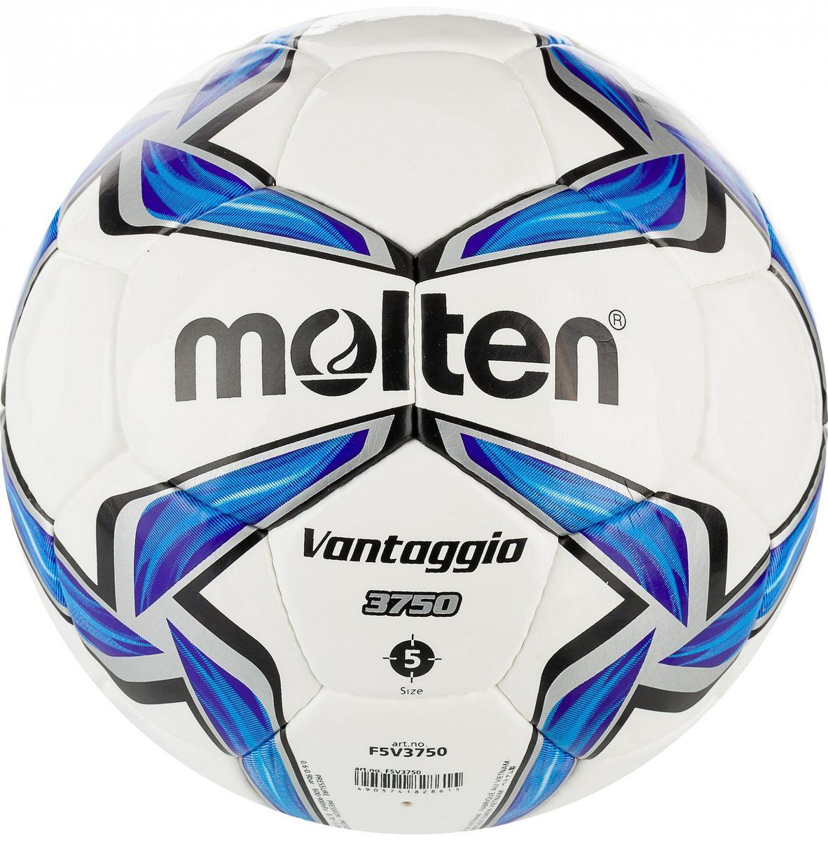 Мяч футбольный Molten. Размер 5. F5V3750F5V3750Футбольный мяч для клубных тренировок и соревнований:изготовлен по технологии Vantaggio - многослойная конструкция улучшает форму мяча; покрышка из синтетической кожи (полиуретан); ручное шитье; инспектирован FIFA.