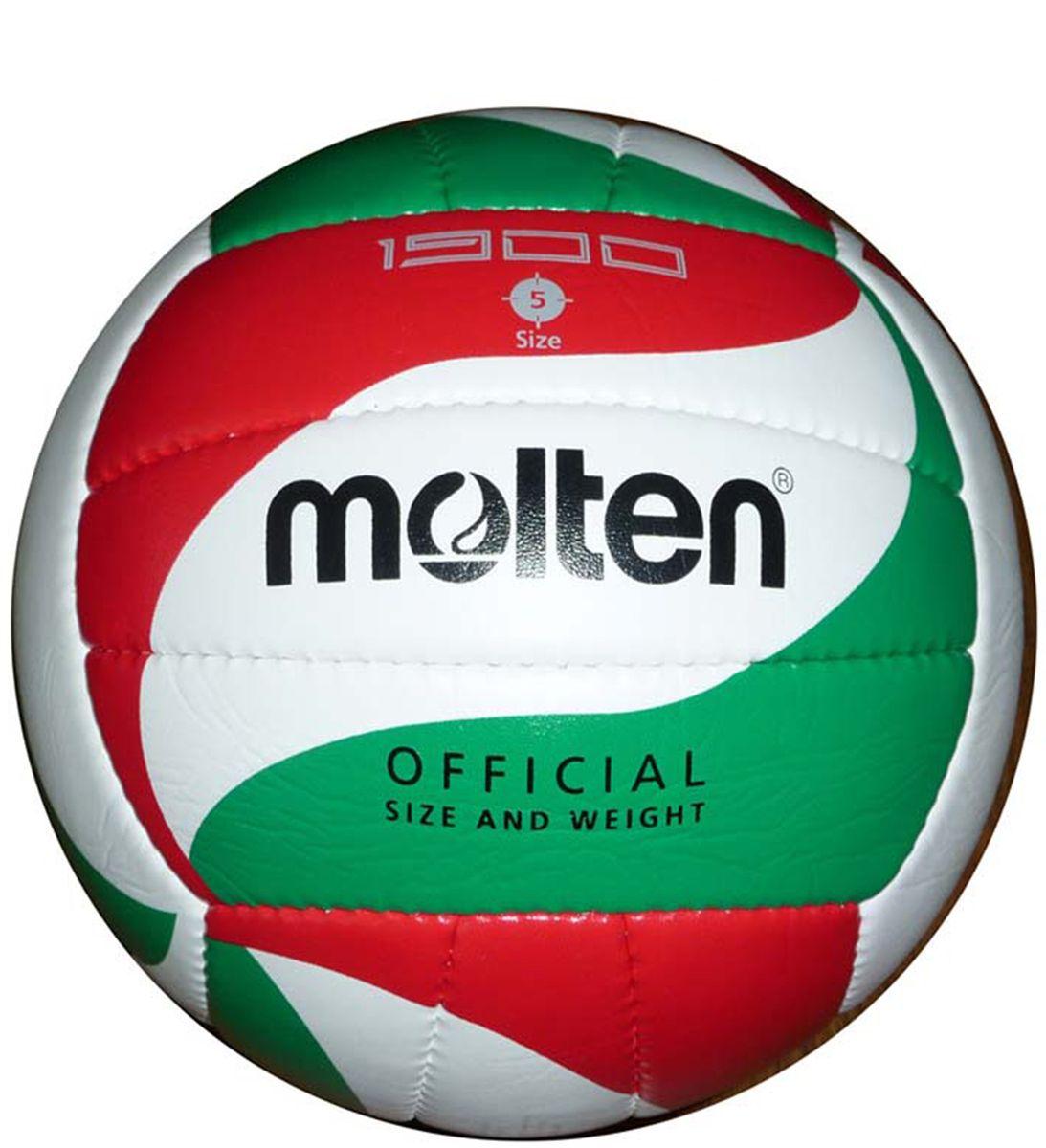Мяч волейбольный Molten. Размер 5. V5M1900V5M1900Синтетическая кожа (поливинилхлорид) 2 подкладочных слоя Бутиловая камера Машинная сшивка Размер №5