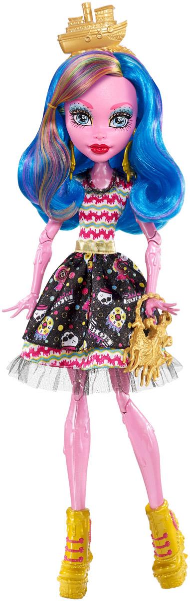 Monster High Кукла Гулиопа ДжеллингтонFBP35С приездом цирка Freak du Chic монстры закатят такую вечеринку, какой еще свет не видывал! Когда-то маленькую Гулиопу Джеллингтон забыли на пороге цирка, и с тех пор она путешествует вместе с ним. Многие считают, что она дочь монстра по имени Blob. Так это или нет - неизвестно! Она одета модно и причудливо: ее экстравагантное платье-колокол украшено принтом красного, желтого и черного цветов. Среди аксессуаров в цирковом стиле - золотистые серьги в виде колес повозки, золотистое украшение на голову и туфли на высокой платформе, каблуки которых - лошади-скелеты, словно сошедшие с монструозной карусели. Длинные волосы куклы синего цвета имеют множество разноцветных прядок. В руках кукла держит сумочку, выполненную в виде якоря. К кукле прилагается подставка.