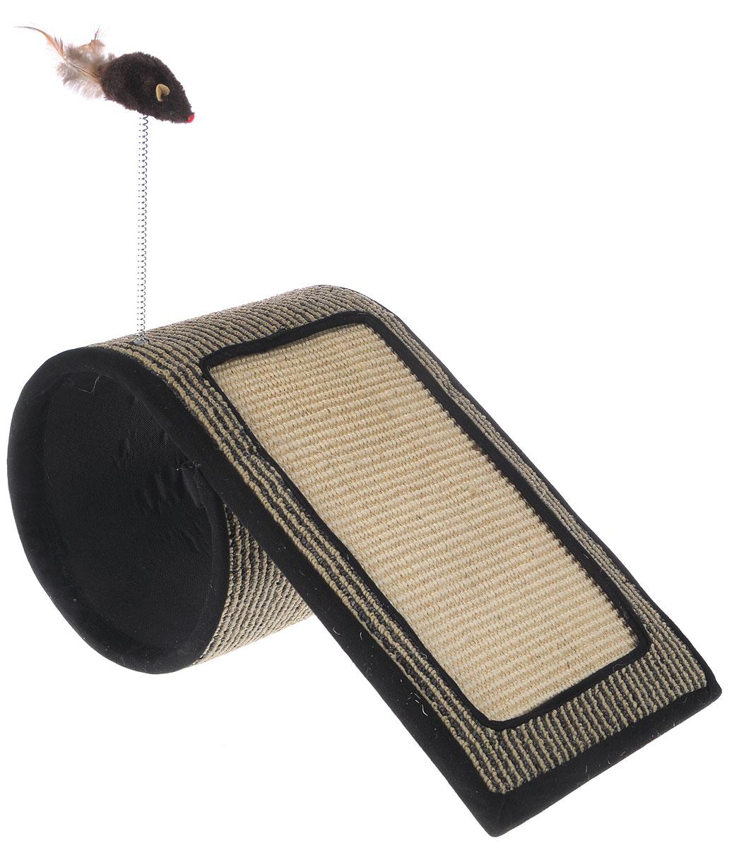 Когтеточка-туннель Triol, с игрушкой, 48 х 26 х 24NT145Когтеточка-туннель Triol станет любимым местом для вашего питомца. Мышка на пружине привлечет дополнительное внимание к когтеточке. Изделие выполнено из ДСП, текстиля, ковролина и сизаля. Структура материала когтеточки позволяет кошачьим лапкам проникать внутрь и извлекаться с высоким трением, так что ороговевшие частички когтя остаются внутри волокон. По своей природе сизаль обладает уникальным антистатическим свойством, следовательно, когтеточка не накапливает пыль, что является дополнительным привлекательным качеством, поскольку облегчает процесс уборки.