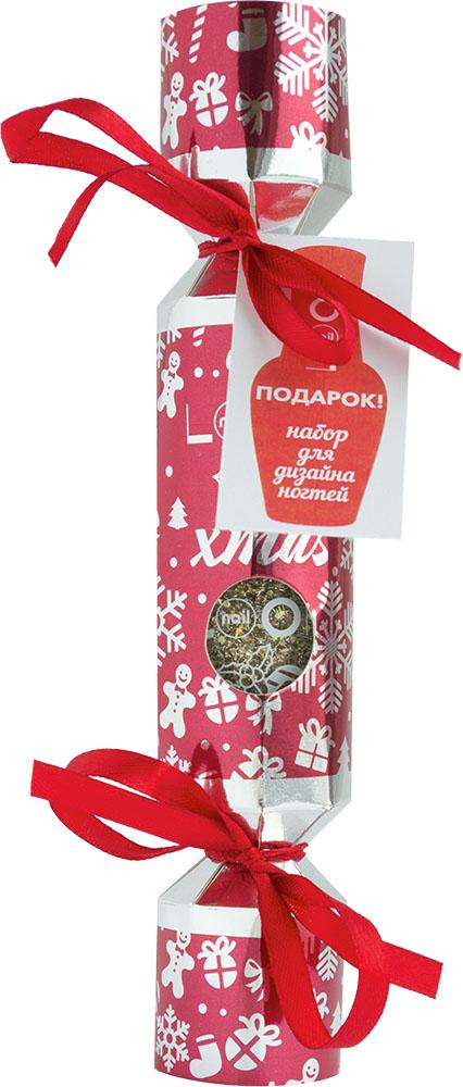 nailLOOK Набор подарочный Новогодняя хлопушка: наклейки для дизайна ногтей, лак золотой со сверкающем глиттером, цвет упаковки: красный