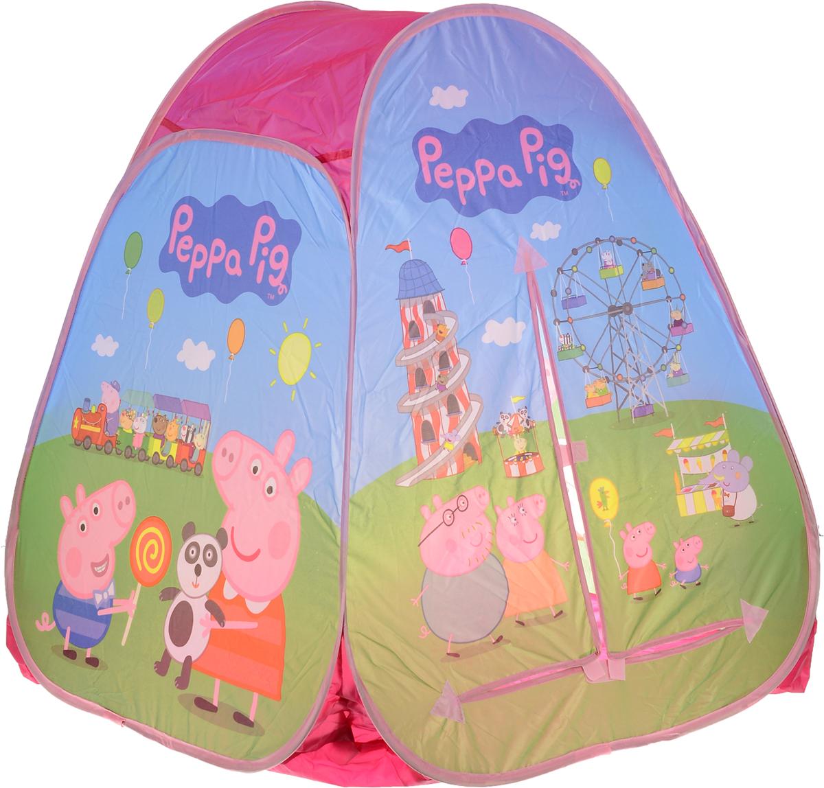 Peppa Pig Палатка для игр Пеппа в Луна-парке 3000930009Побалуйте своего малыша, подарив ему очаровательную игровую палатку Peppa Pig Пеппа в Луна-парке, созданную по мотивам увлекательного мультфильма Свинка Пеппа. Не сомневайтесь - она обязательно станет любимым домиком вашего ребенка. Благодаря ее удобному самораскладывающемуся каркасу, вы легко сможете складывать и раскладывать палатку, в чем вам поможет краткая инструкция, представленная в картинках на упаковке. Компактный размер в сложенном виде позволяет легко переносить палатку, поэтому с ней увлекательно и комфортно играть не только дома, но и на природе. Палатка имеет входной полог на липучке. Палатка для игр Peppa Pig Пеппа в Луна-парке прослужит долгое время, благодаря своему качеству! Это прекрасное решение для сюжетно-ролевых игр.