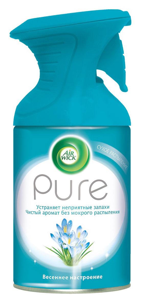 Освежитель воздуха AirWick Pure, весеннее настроение, 250 мл7887Новый освежитель воздуха Air Wick Pure не содержит воды и эффективно устраняет неприятные запахи без мокрого распыления. Используйте освежители воздуха Air Wick Pure в каждой комнате, наполняя ваш дом свежими и приятными ароматами. Инструкция по использованию: держа баллон регулярно, нажать на курок до упора и распылить аэрозоль от себя к центру комнаты. Внимание! Прочитать внимательно этикетку перед использованием. Хранить в недоступном для детей и животных месте. Использовать с осторожностью при повышенной чувствительности к парфюмерным отдушкам. Освежители воздуха не являются заменой надлежащих мер гигиены. Использовать только в хорошо проветриваемых помещениях. Меры предосторожности: баллон находится под давлением. При нагревании возможен разрыв баллона. Предохранять от воздействия прямых солнечных лучей и нагревания выше 50 градусов. Огнеопасно! Не распылять вблизи открытого огня, раскаленных предметов, тепла или включенного электрооборудования. Не курить. Срок годности: 24...