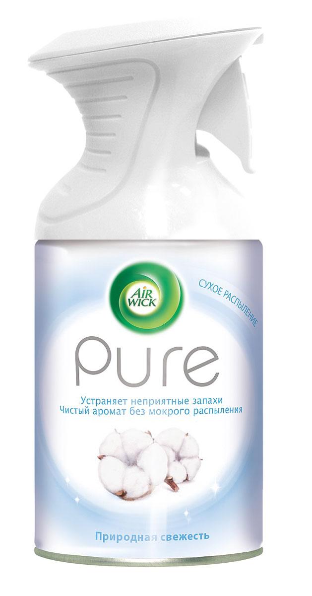 Освежитель воздуха AirWick Pure, природная свежесть, 250 мл7891Новый освежитель воздуха Air Wick Pure не содержит воды и эффективно устраняет неприятные запахи без мокрого распыления. Используйте освежители воздуха Air Wick Pure в каждой комнате, наполняя ваш дом свежими и приятными ароматами. Инструкция по использованию: держа баллон регулярно, нажать на курок до упора и распылить аэрозоль от себя к центру комнаты. Внимание! Прочитать внимательно этикетку перед использованием. Хранить в недоступном для детей и животных месте. Использовать с осторожностью при повышенной чувствительности к парфюмерным отдушкам. Освежители воздуха не являются заменой надлежащих мер гигиены. Использовать только в хорошо проветриваемых помещениях. Меры предосторожности: баллон находится под давлением. При нагревании возможен разрыв баллона. Предохранять от воздействия прямых солнечных лучей и нагревания выше 50 градусов. Огнеопасно! Не распылять вблизи открытого огня, раскаленных предметов, тепла или включенного электрооборудования. Не курить. Срок годности: 24...