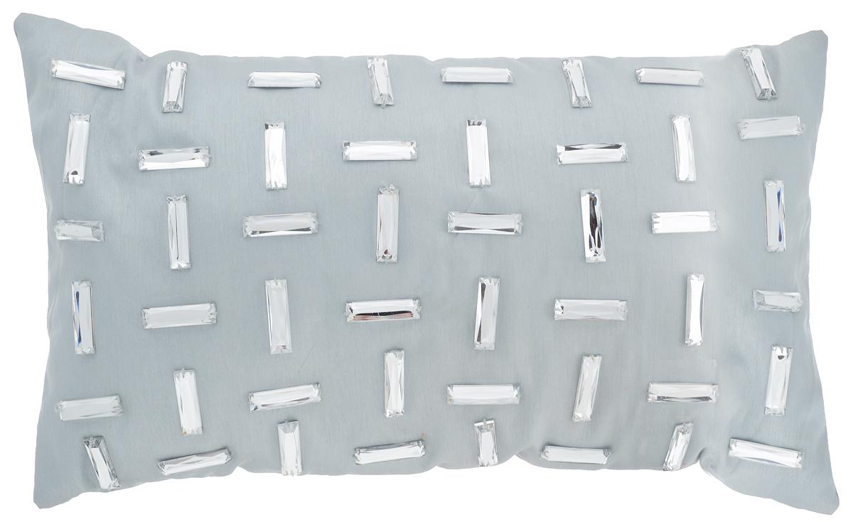Подушка декоративная Коллекция, цвет: серый, 30 х 50 смПДА-7Декоративная подушка Коллекция прекрасно дополнит интерьер спальни или гостиной. Чехол подушки выполнен из 100% полиэстера, декорирован стразами. В качестве наполнителя используется 100% силиконизированное волокно. Силиконизированное волокно относится к разряду экологически чистых химических волокон. При комнатной температуре не выделяет в окружающую среду токсичных веществ и не оказывает вредного влияния на организм человека при непосредственном контакте, гипоаллергенно. Работа с ним не требует особых мер предосторожности. Красивая подушка создаст атмосферу уюта в доме и станет прекрасным элементом декора.