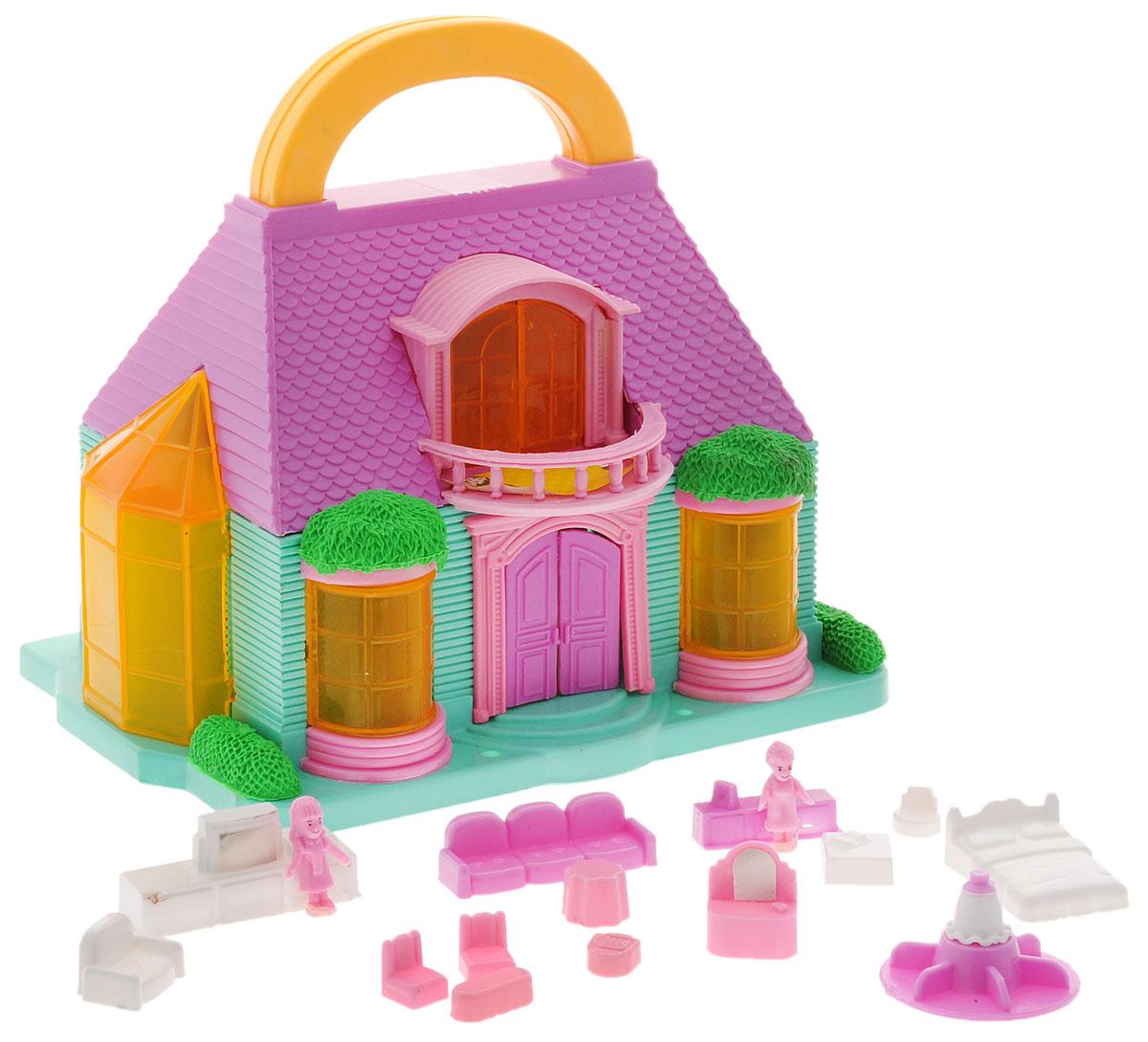ABtoys Летний домик для куколPT-00228_сиреневый бирюзовый с балкономЛетний домик для кукол ABtoys с удобной ручкой для переноски просто необходим для веселой жизни ваших мини-куколок! Дом имеет красивый фасад и оснащен откидными балконом. В наборе имеется множество аксессуаров, которыми можно обустроить жилище. Набор поможет детям представить себя в роли дизайнера, занимающегося обстановкой и декором домика для любимой куколки, а также станет главным атрибутом для увлекательных сюжетно-ролевых игр. Набор выполнен из качественного и безопасного материала.