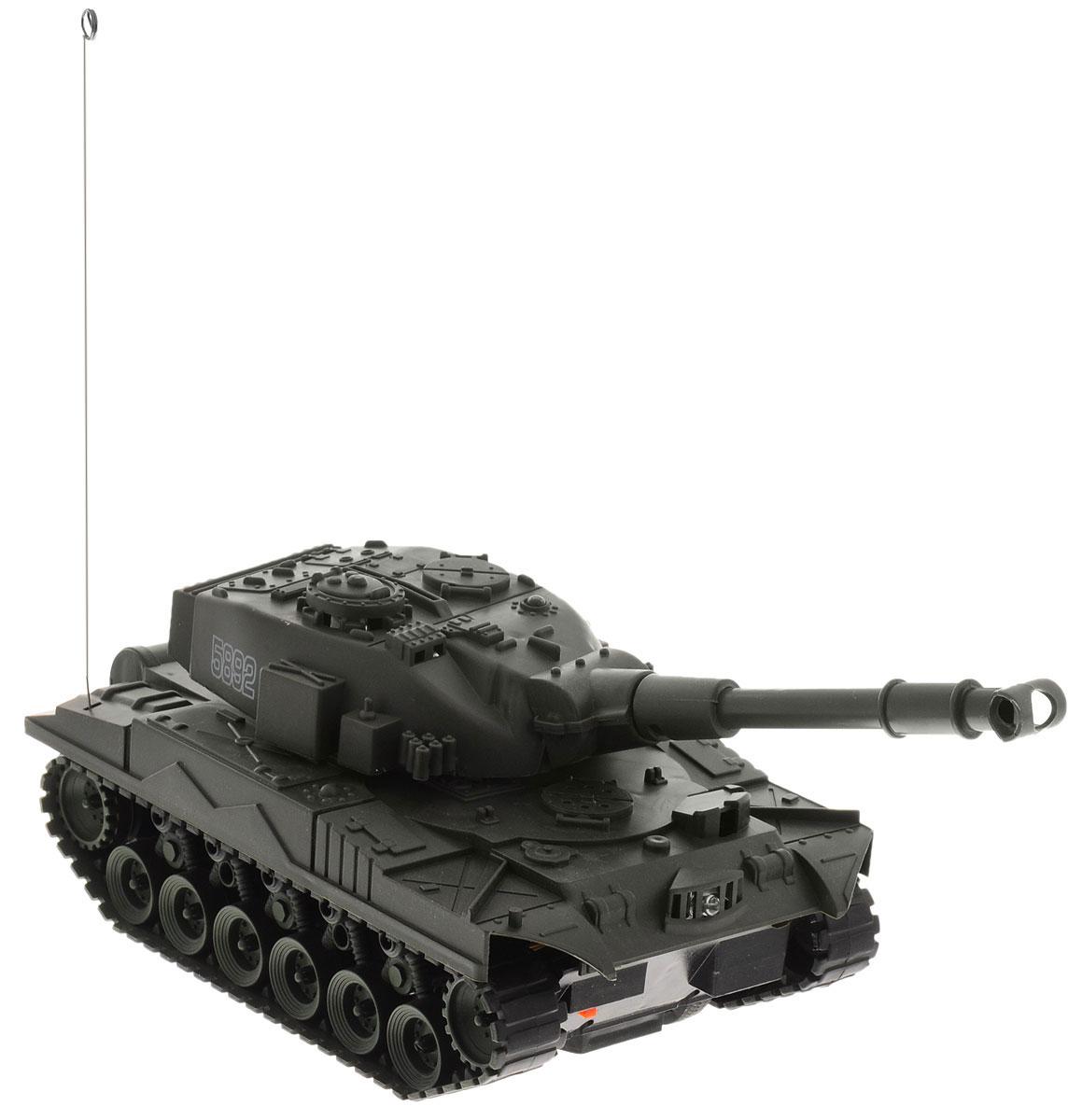 Junfa Toys Танк на радиоуправлении Super Power Panzer цвет темно-зеленый5892_Танк_5892Эффектный танк на радиоуправлении Junfa Toys Super Power Panzer понравится каждому мальчишке, который интересуется военной техникой. Стремительно прорываясь вперед сквозь препятствия, танк издает реалистичные звуки работающего мотора, а во время стрельбы у него загорается огонек в дуле пушки и раздаются звуки мощного выстрела. Игрушка работает от пульта управления и может не только передвигаться назад, вперед, налево и направо, но и поворачивать пушку. Пульт управления работает на частоте 27 MHz. Выглядит модель на удивление реалистично, а уровень ее детализации поражает воображение. Радиоуправляемые игрушки способствуют развитию координации движений, моторики и ловкости. Для работы танка необходимо купить 4 батарейки напряжением 1,5V типа АА (не входят в комплект). Для работы пульта управления необходимо купить 2 батарейки напряжением 1,5V типа АА (не входят в комплект).