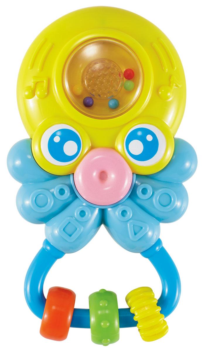 Жирафики Погремушка Осьминог со светом и звуком629355Осьминог - необычная игрушка-погремушка понравится малышу! Внутри игрушки - маленькие шарики, которые гремят, если встряхнуть погремушку. Разноцветные колечки можно перебирать пальчиками, тренируя моторику. Если дотронуться до прозрачной кнопки, то послышится смех, а потом заиграет мелодия. Кнопка будт подсвечиваться. Играя, ребенок развивает слуховое, пространственное и зрительное восприятие, а также тактильные ощущения, учится находить источник звука, сосредотачиваться и следить за движением. Игрушка работает от батареек (в комплекте).