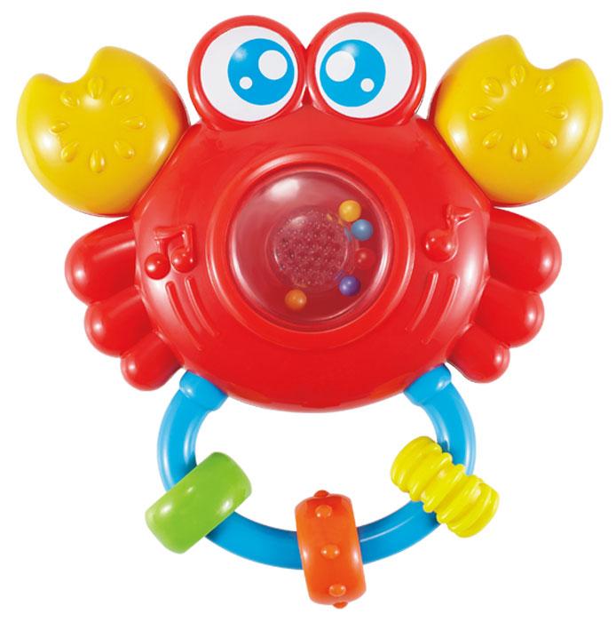 Жирафики Погремушка Крабик со светом и звуком629356Крабик - необычная игрушка-погремушка понравится малышу! Внутри игрушки - маленькие шарики, которые гремят, если встряхнуть погремушку. Разноцветные колечки можно перебирать пальчиками, тренируя моторику. Если дотронуться до прозрачной кнопки, то послышится смех, а потом заиграет мелодия. Кнопка будт подсвечиваться. Играя, ребенок развивает слуховое, пространственное и зрительное восприятие, а также тактильные ощущения, учится находить источник звука, сосредотачиваться и следить за движением. Игрушка работает от батареек (в комплекте).