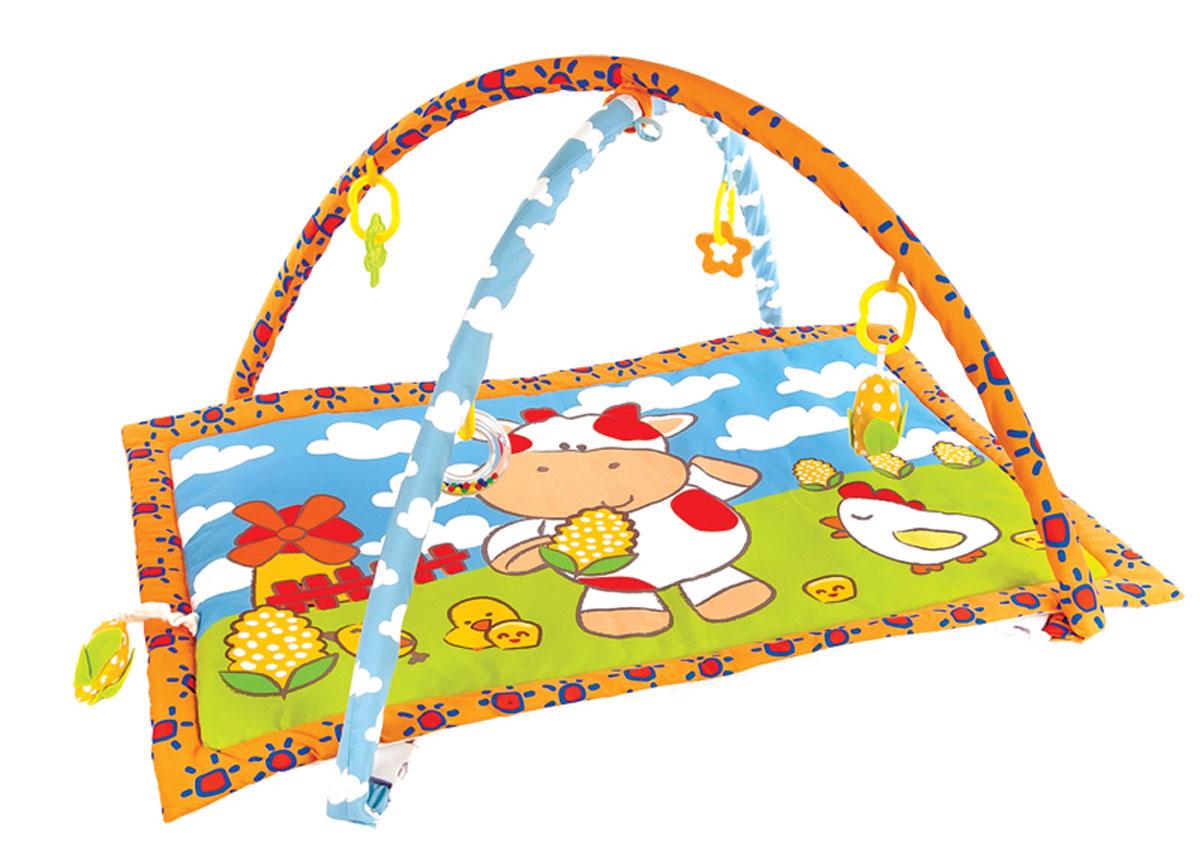 Жирафики Развивающий коврик Коровка Муу и кукурузка939350На развивающем коврике можно играть в трёх положениях: на спинке, на животике или сидя. Малышу будет интересно тянутся за развивающими игрушками, с помощью которых он будет изучать мир, а также смотреться в безопасное зеркальце и развивать пространственное воображение. Когда малыш научится сидеть, можно снять дуги и использовать коврик как мягкий и тёплый пол для игр. 5 развивающих игрушек Игровые элементы на поверхности коврика: пищалка 3 положения для игры Размер коврика: 95х60 см Рекомендованный возраст: 1 мес +