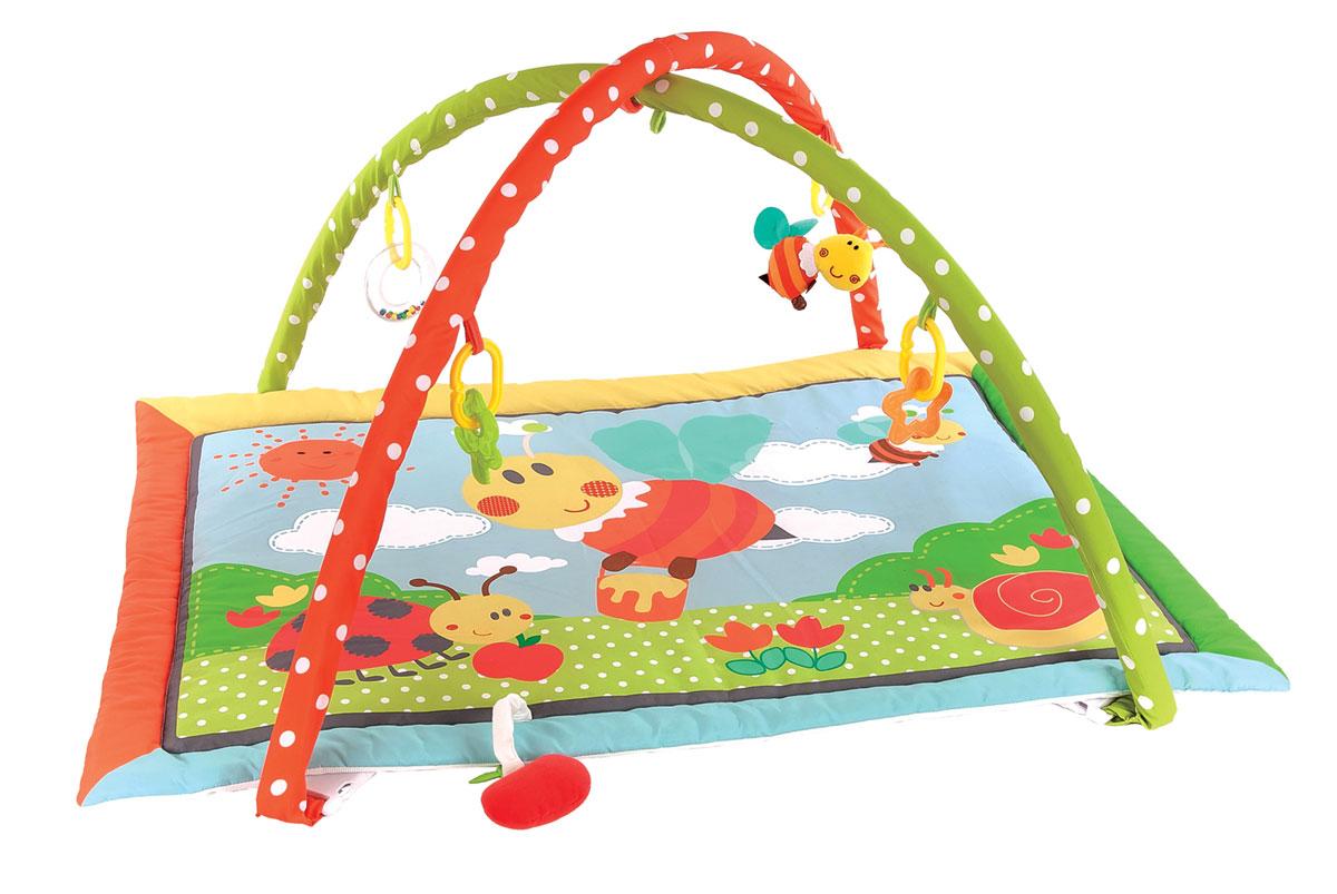 Жирафики Развивающий коврик Пчелка Бизи и мед939351На развивающем коврике можно играть в трёх положениях: на спинке, на животике или сидя. Малышу будет интересно тянутся за развивающими игрушками, с помощью которых он будет изучать мир, а также смотреться в безопасное зеркальце и развивать пространственное воображение. Когда малыш научится сидеть, можно снять дуги и использовать коврик как мягкий и тёплый пол для игр. 5 развивающих игрушек Игровые элементы на поверхности коврика: пищалка и шуршалка 3 положения для игры Размер коврика: 95х60 см Рекомендованный возраст: 1 мес +