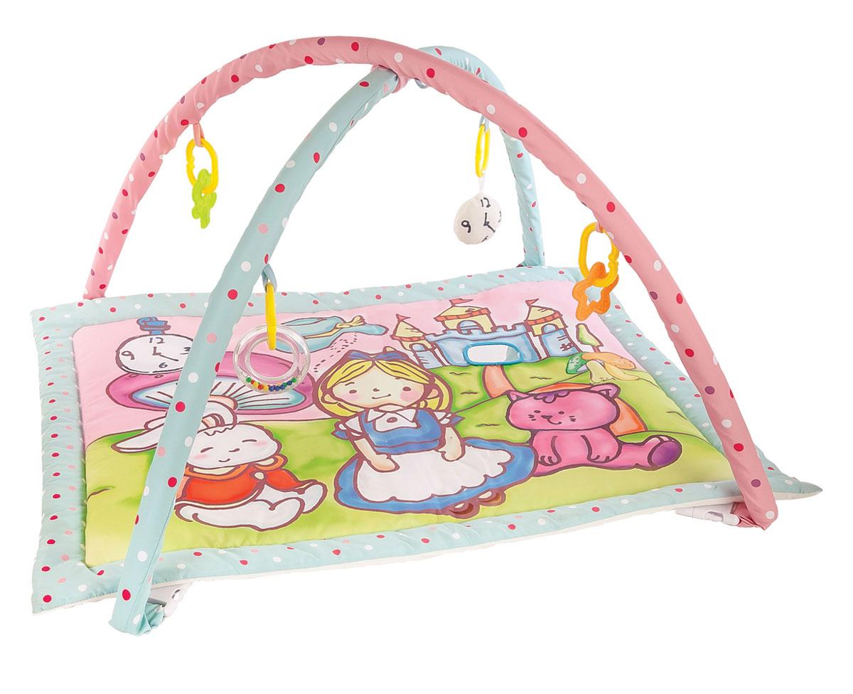 Жирафики Развивающий коврик Алиса и волшебный замок939352На развивающем коврике можно играть в трёх положениях: на спинке, на животике или сидя. Малышу будет интересно тянутся за развивающими игрушками, с помощью которых он будет изучать мир, а также смотреться в безопасное зеркальце и развивать пространственное воображение. Когда малыш научится сидеть, можно снять дуги и использовать коврик как мягкий и тёплый пол для игр. 5 развивающих игрушек Игровые элементы на поверхности коврика: шуршала и зеркальце 3 положения для игры Размер коврика: 95х60 см Рекомендованный возраст: 1 мес +