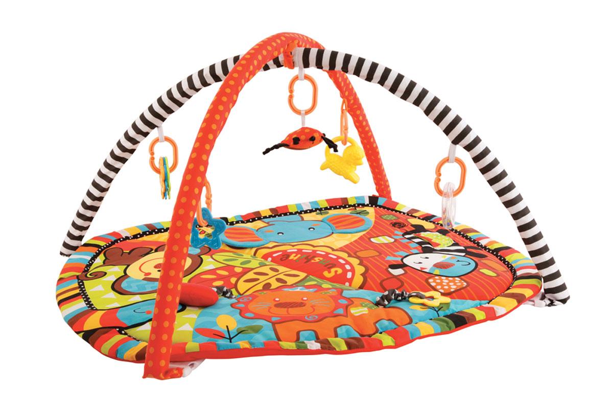 Жирафики Развивающий коврик Ушастики939353На развивающем коврике можно играть в трёх положениях: на спинке, на животике или сидя. Малышу будет интересно тянутся за развивающими игрушками, с помощью которых он будет изучать мир, а также смотреться в безопасное зеркальце и развивать пространственное воображение. Когда малыш научится сидеть, можно снять дуги и использовать коврик как мягкий и тёплый пол для игр. 7 развивающих игрушек Игровые элементы на поверхности коврика: шуршала и пищалка 3 положения для игры Размер коврика: 85х70 см Рекомендованный возраст: 1 мес +