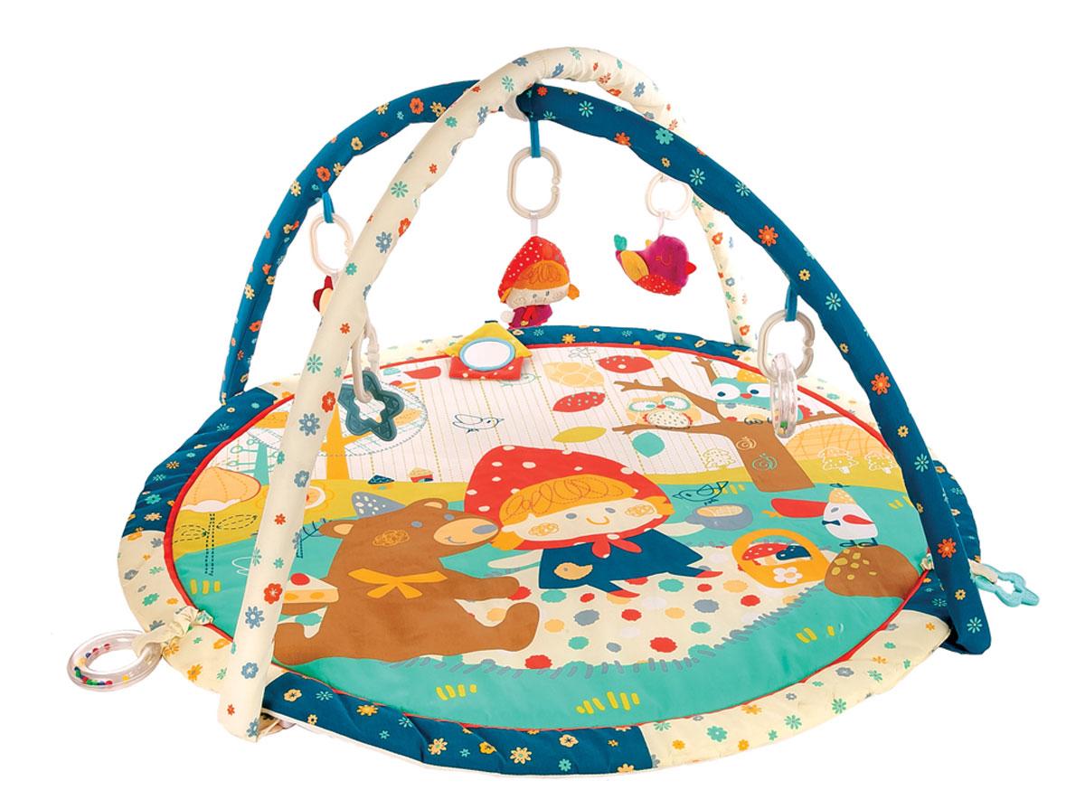 Жирафики Развивающий коврик Машенька и медведь939355На развивающем коврике можно играть в трёх положениях: на спинке, на животике или сидя. Малышу будет интересно тянутся за развивающими игрушками, с помощью которых он будет изучать мир, а также смотреться в безопасное зеркальце и развивать пространственное воображение. Когда малыш научится сидеть, можно снять дуги и использовать коврик как мягкий и тёплый пол для игр. 8 развивающих игрушек Игровые элементы на поверхности коврика: пищалка и зеркальце 3 положения для игры Диаметр: 80 см Рекомендованный возраст: 1 мес +