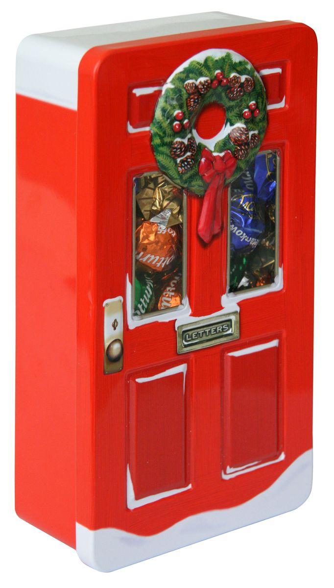 Сладкая Сказка Рождественская дверь красная шоколадные конфеты, 400 гLX-12_краснаяШоколадные конфеты в подарочной банке в виде двери, дизайн которой выполнен в рождественском стиле, - уникальный формат подарка к зимнему празднику.