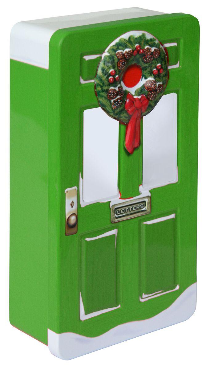 Сладкая Сказка Рождественская дверь зеленая шоколадные конфеты, 400 гLX-12Шоколадные конфеты в подарочной банке в виде двери, дизайн которой выполнен в рождественском стиле, - уникальный формат подарка к зимнему празднику.