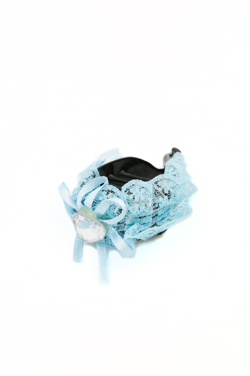 Зажим для волос Mitya Veselkov, цвет: синий. 1058-BLUE-DAM1058-BLUE-DAMСтильный зажим для волос Mitya Veselkov изготовлен из пластика, декорирован лентой и стразом в виде сердца.
