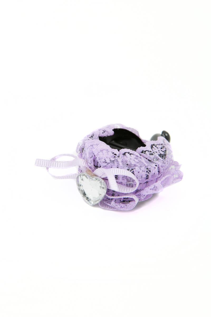 Зажим для волос Mitya Veselkov, цвет: фиолетовый. 1058-VIOLET-DAM1058-VIOLET-DAMСтильный зажим для волос Mitya Veselkov изготовлен из пластика, декорирован лентой и стразом в виде сердца.