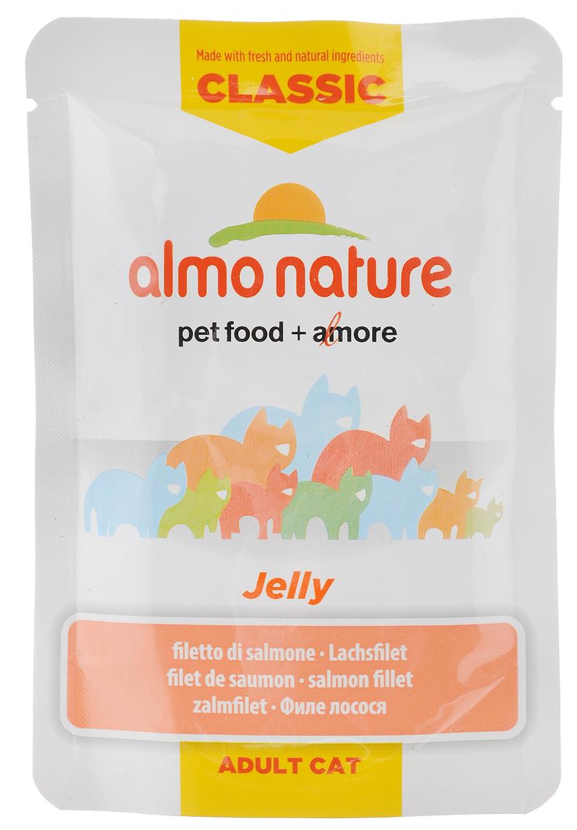 Консервы Almo Nature Jelly для кошек, филе лосося в желе, 55 г20487Almo Nature Jelly - восхитительно вкусный функциональный влажный корм, содержащий желатин, который является натуральным средством для вывода шерсти из организма кошки, помогающий защитить пищеварительный тракт от раздражения. Кусочки филе лосося в желе приготовлены из самых свежих отборных ингредиентов уровня Human Grade (качество как для людей), являющихся натуральным естественным источником витаминов и микроэлементов. Пищевая ценность: белок 8%, клетчатка 1%, масла и жиры 0,7%, зола 2%, влажность 88,2%. Энергетическая ценность: 343,8 ккал/кг. Товар сертифицирован.