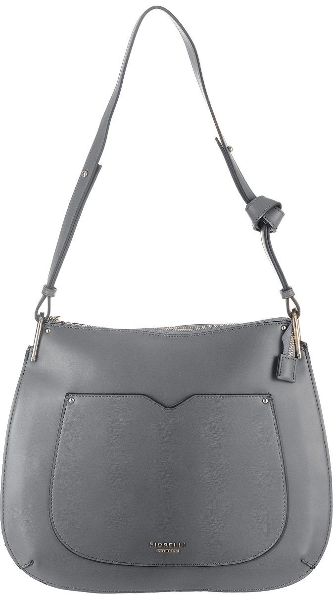 Сумка женская Fiorelli, цвет: серый. 8519 FH8519 FH City GreyСтильная сумка Fiorelli выполнена из гладкой экокожи и оформлена фирменной металлической пластинкой. На лицевой стороне расположен небольшой открытый накладной карман. На тыльной стороне находится вшитый карман на молнии. Сумка оснащена удобным плечевым ремнем, длина которого регулируется с помощью металлических болтов. Внутри расположено главное вместительное отделение, которое содержит четыре открытых накладных кармана для телефона и мелочей и один вшитый карман на молнии.
