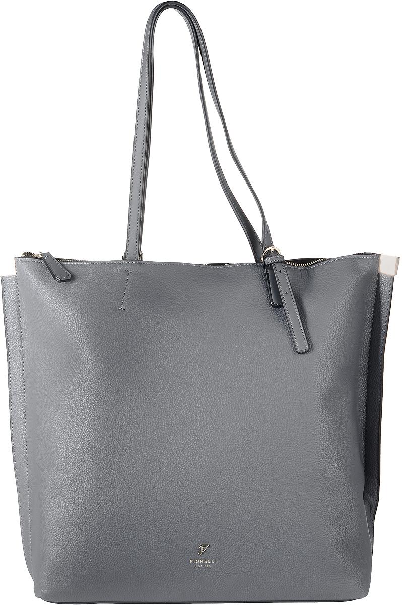 Сумка женская Fiorelli, цвет: серый. 8521 FH8521 FH GreyСтильная сумка Fiorelli выполнена из высококачественной искусственной кожи. Изделие оформлено фирменной надписью и металлической пластинкой с логотипом бренда. На тыльной стороне расположен вшитый карман на молнии. Сумка оснащена удобными ручками, длина которых регулируется с помощью пряжки. Изделие закрывается на застежку-молнию. Внутри расположено главное вместительно отделение, которое содержит два открытых накладных кармана для телефона и мелочей и один вшитый карман на молнии.