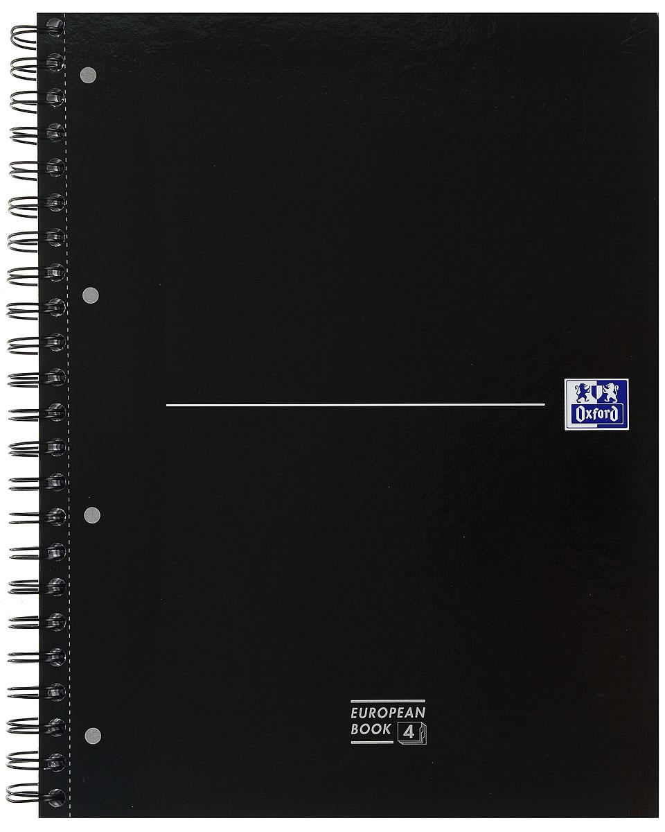 Oxford Тетрадь Officе Europen Book 120 листов в клетку100104738, 817869Красивая и практичная тетрадь Oxford Officе Europen Book отлично подойдет для ведения и хранения заметок. Тетрадь формата А4+ состоит из 120 белых листов с четкой яркой линовкой в клетку. Обложка тетради выполнена из жесткого ламинированного картона черного цвета. Все ваши записи и заметки всегда будут в безопасности, так как листы крепятся на двойную металлическую спираль. В тетради предусмотрена, снабженная карманом, страница из плотного картона для хранения листов-записок. Тетрадь состоит из 4 разделов, каждый из которых имеет цветовую кодировку по обрезу и по корешку согласно цвету пластикового разделителя (красный, синий, зеленый).