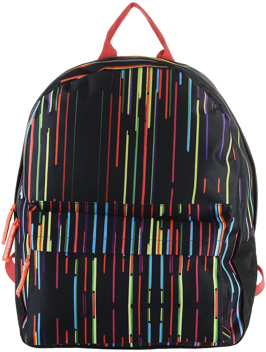 Рюкзак Аntan Полоски, цвет: черный, мультиколор. 6-76-7Яркий рюкзак Аntan выполнен из высококачественного полиэстера и оформлен оригинальным принтом. На лицевой стороне расположен объемный накладной карман на молнии. Рюкзак оснащен удобными лямками, длина которых регулируется с помощью пряжек. Изделие закрывается с помощью застежки-молнии. Внутри расположено главное вместительное отделение, которое содержит отделение для ноутбука.