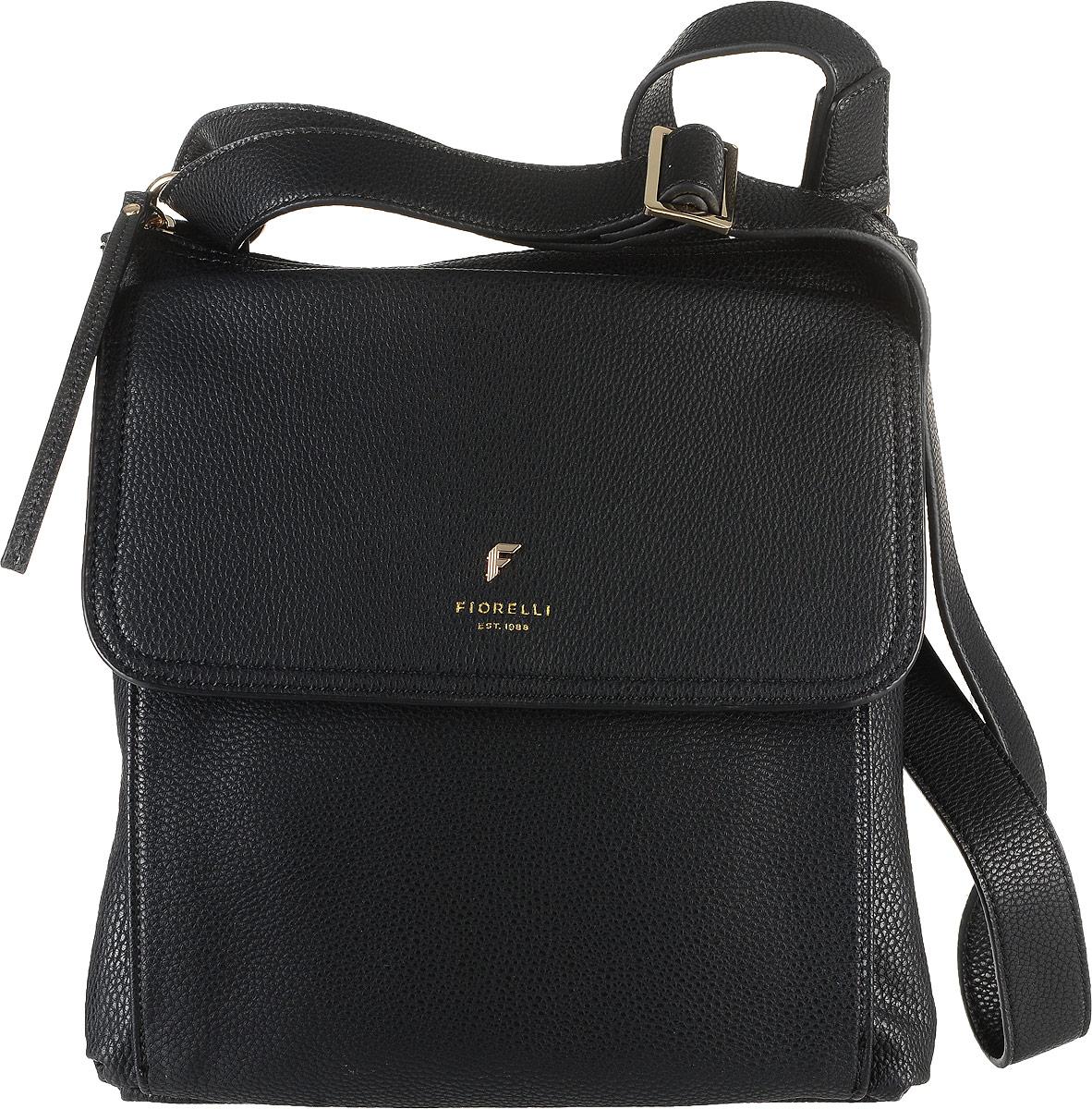 Сумка женская Fiorelli, цвет: черный. 8585 FH8585 FH Black CasualСтильная сумка Fiorelli выполнена из высококачественной искусственной кожи зернистой текстуры. Изделие оформлено фирменной надписью и металлической пластинкой с логотипом бренда. На лицевой стороне расположен удобный накладной объемный карман, который закрывается клапаном на магнитную кнопку. Сумка оснащена широким плечевым ремнем, длина которого регулируется с помощью пряжки. Изделие закрывается на застежку-молнию. Внутри расположено главное отделение, которое содержит два открытых накладных кармана для телефона и мелочей и один вшитый карман на молнии.