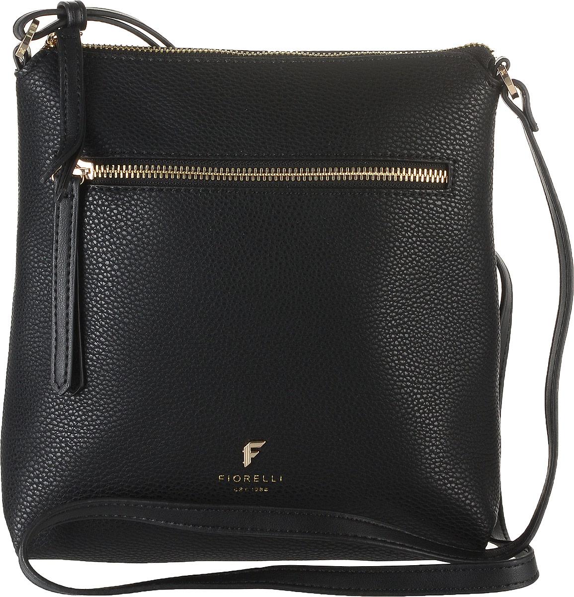 Сумка женская Fiorelli, цвет: черный. 8509 FH8509 FH Black CasualСтильная сумка Fiorelli выполнена из высококачественной искусственной кожи зернистой текстуры. Изделие оформлено металлической пластинкой с логотипом бренда. На лицевой стороне расположен удобный вшитый карман на молнии. На тыльной стороне расположен открытый накладной карман. Сумка оснащена плечевым ремнем, длина которого регулируется с помощью пряжки. Изделие закрывается на застежку- молнию. Внутри расположено главное отделение, которое содержит один открытый накладной карман и фирменную нашивку.