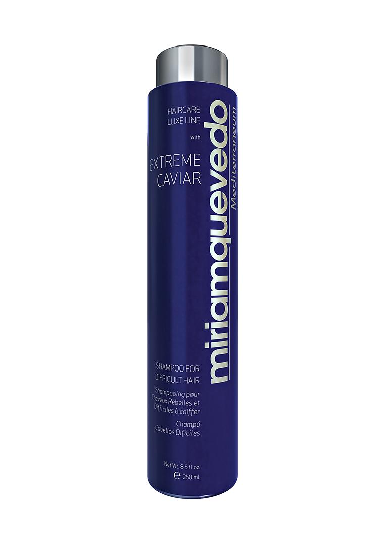 Miriam Quevedo Шампунь для непослушных волос с экстрактом черной икры (Extreme Caviar Shampoo for Difficult Hair) 250 млMQ331Данный шампунь создан специально для ухода за сухими, непослушными и вьющимися волосами. Входящие в состав протеины кератина, проникая вглубь структуры непослушного волоса, не только дают выпрямляющий эффект, но и регулируют увлажнение и интенсивно питают изнутри, а также сокращают нежелательный объем, не затрудняют расчесывание. Кокосовое и оливковое масла, содержащиеся в шампуне, обеспечат регенерацию и сохранение гидро-липидной пленки, обволакивающей структуру волоса, тем самым обеспечат усиленную защиту. Экстракт черной икры и альфа-гидрокислоты сделают ваши волосы шелковистыми, ослепительно блестящими и эластичными.