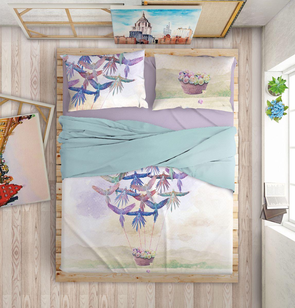 Комплект белья Love Me Happiness, 1,5-спальный, наволочки 50х70, цвет: синий, фиолетовый198973Международный бренд для молодых, современных, стильных. Love Me - бренд качественного постельного белья, для молодых людей, создающий ощущение комфорта, защищенности и уюта. При этом - модный, современный, стильный. Упаковка выполнена в оригинальном стиле - имитирует модель сумки Furla.