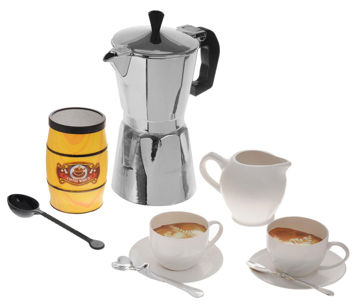 ABtoys Игрушечный кофейный наборPT-00206_баночка д. кофеИгровой кофейный набор ABtoys входит в большую серию игрушек Помогаю маме, разработанную для приучения детишек к домашним обязанностям в игровой форме. С этим набором ваша юная помощница сможет угощать своих любимых кукол ароматным кофе. В комплект входят кофейник, сливочник, ложки, чашки с блюдечками и мини-плита. Набор выполнен из качественного и безопасного материала. Играя, ребенок сможет развить речь, аккуратность, усидчивость, а также воображение, двигательную активность рук и фантазию. Игровой кофейный набор ABtoys станет отличным подарком для любой девочки, которая теперь постоянно может угощать своих любимых кукол вкусным сладким кофе.