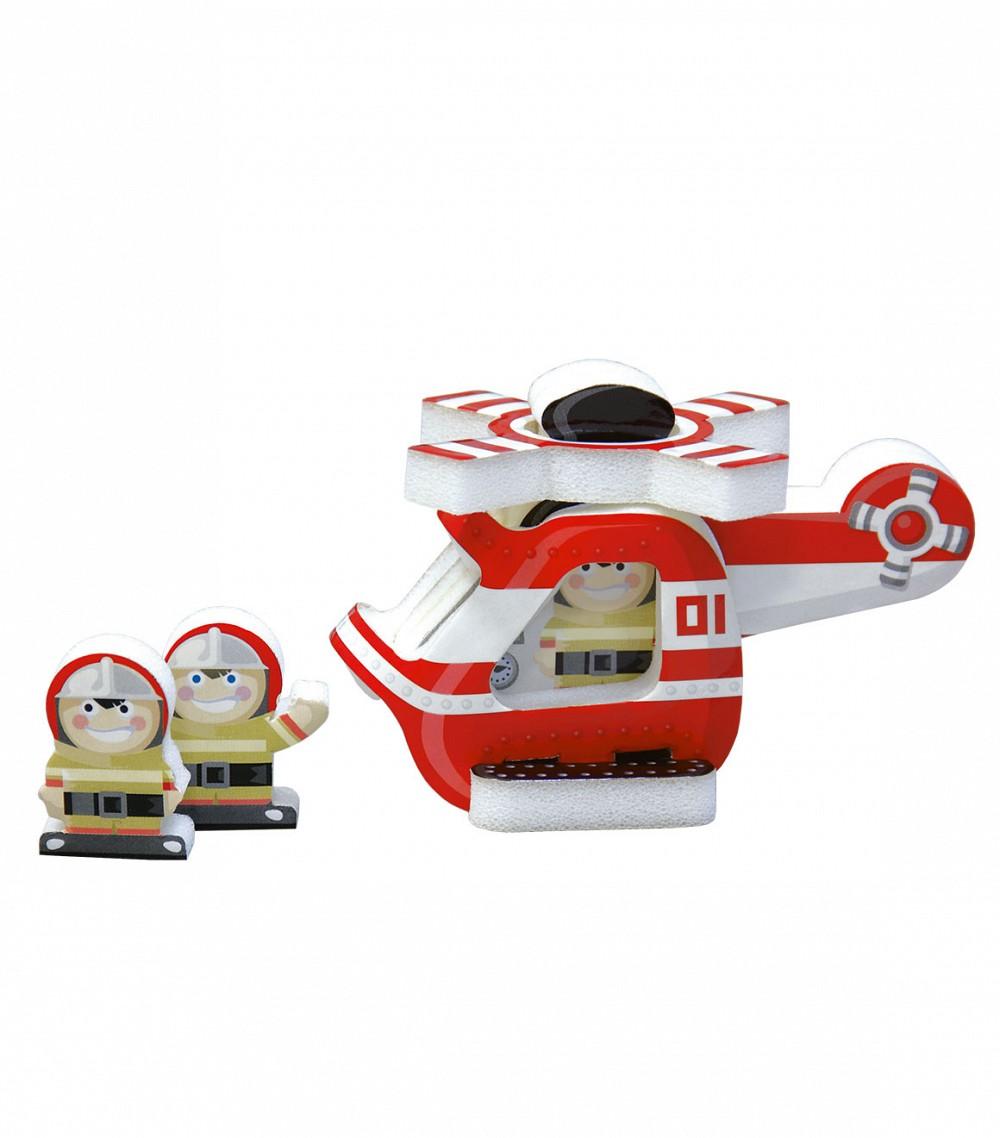 Умная бумага Мягкий конструктор Вертолет158-02Мягкий конструктор Вертолет привлечет внимание вашего ребенка и не позволит ему скучать. Все детали заранее вырублены. За основу взят вспененный полимер и картон, детали очень легкие, приятные на ощупь и безопасные. Объемные детали вертолета легко собираются. Конструктор разработан по рекомендациям методистов и детских психологов для самых маленьких. Сборные игры и игрушки учат ребенка добиваться всего своим трудом, уже в детстве занимая активную жизненную позицию. Конструкторы учат уважать чужой труд на примере своего, вырабатывают умелость рук и сообразительность. Помимо этого, игровые наборы, изготовленные по принципу картон + мягкий полимер, обладают положительным тактильным эффектом - они очень приятны для детских пальчиков. Сборные игрушки идеально подходят для совместных занятий взрослых и детей, сближая их общим интересным досугом. Сложность сборки: 1.